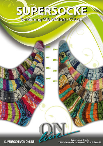 Online Supersocke Design Color 8-fach